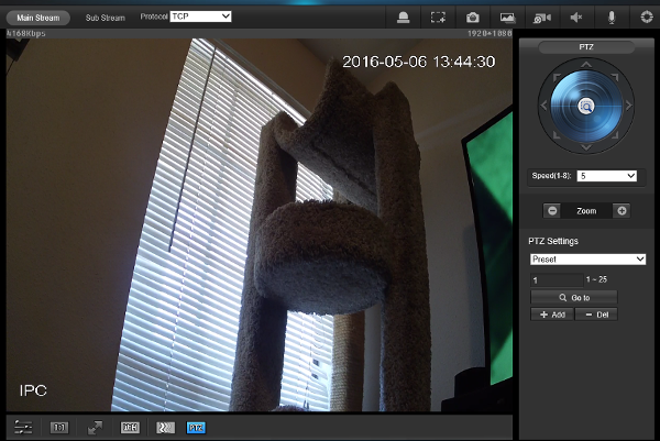 gui interface for setup of IP camera
